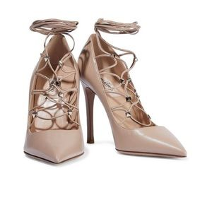 Valentino Rockstud Lace-Up Leather Pumps Neutral